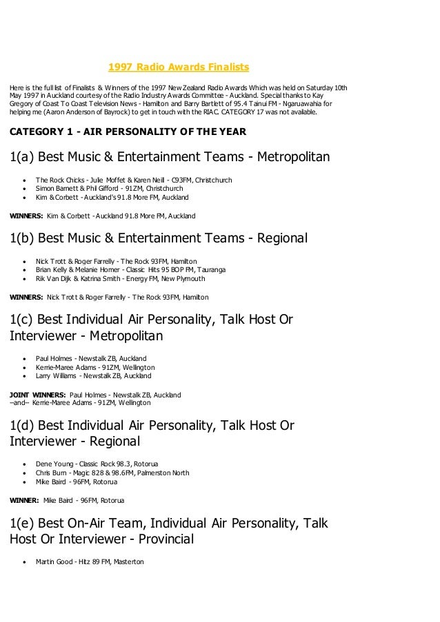 1997 Radio Awards Finalists Here Is The Full List Of Winners