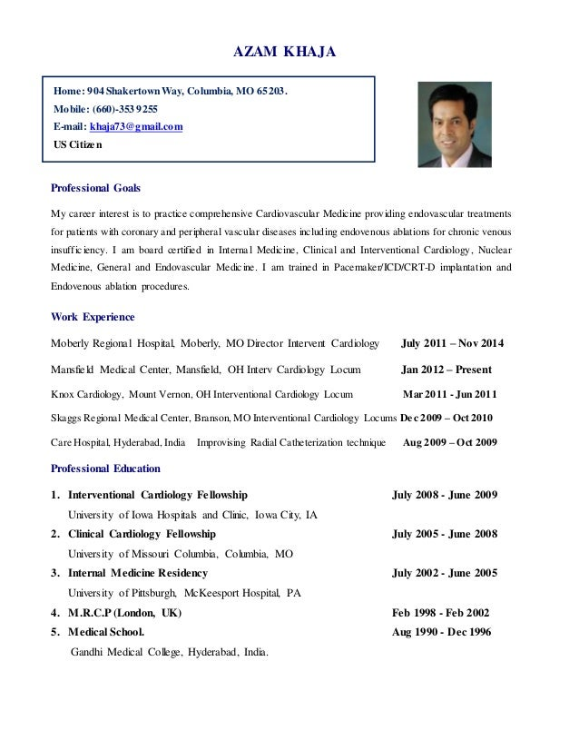 cardiologist resume