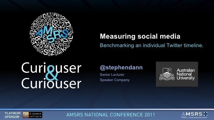 Measuring social media Benchmarking an individual Twitter timeline. @stephendann Senior Lecturer Speaker Company ($)