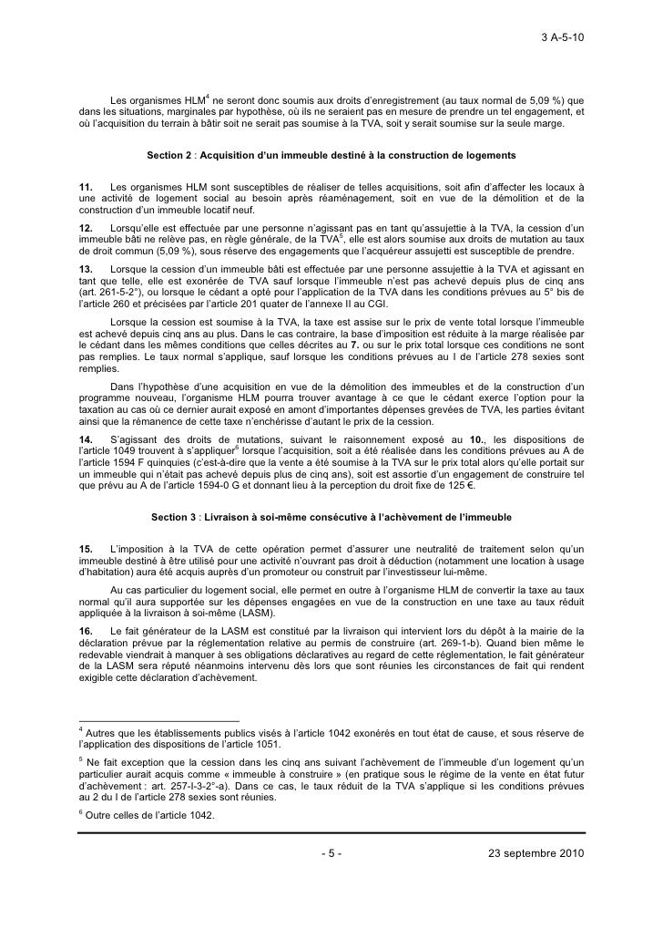 Tva Immobiliere Instruction Administrative Du 22 Septembre 2010