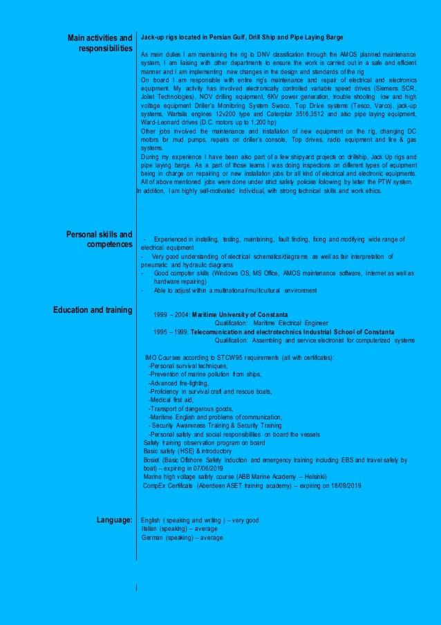 Resume Tiberiu Neagu - Rig Electrician