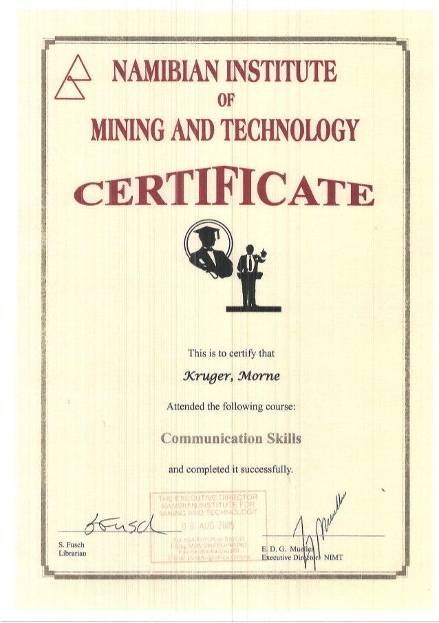M Kruger - NIMT certificates x 5.PDF