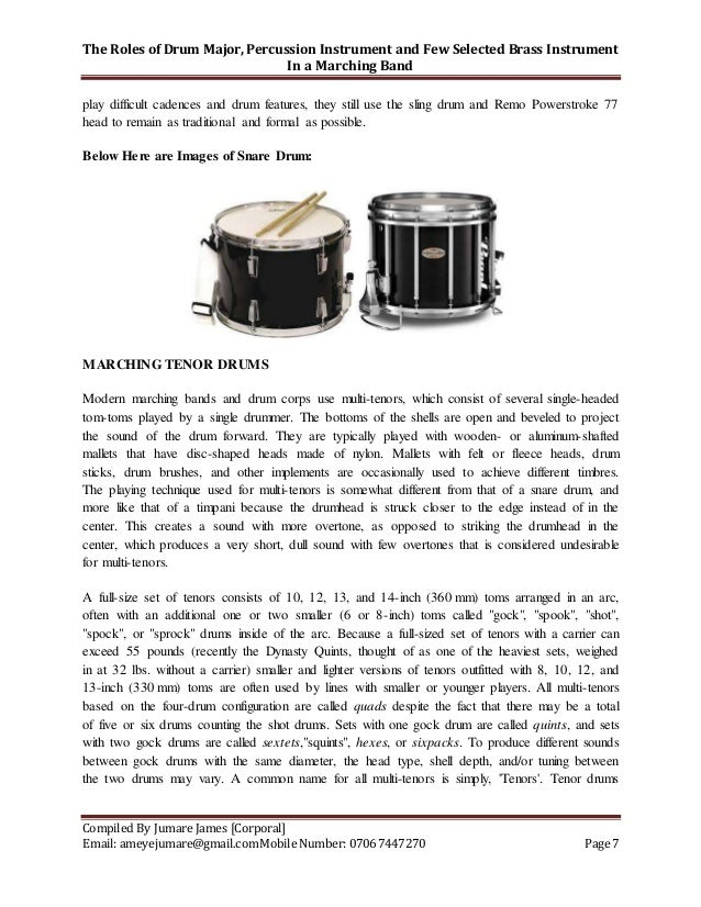 The Role Of Drum Major Percussion Instrument And Few Selected Brass