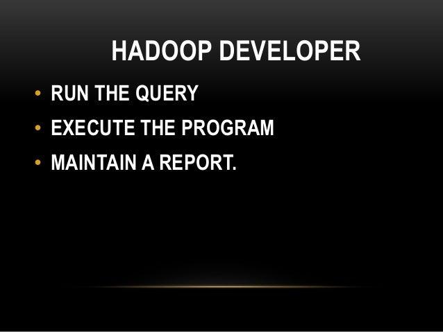 HADOOP DEVELOPER • RUN THE QUERY • EXECUTE THE PROGRAM • MAINTAIN A REPORT.