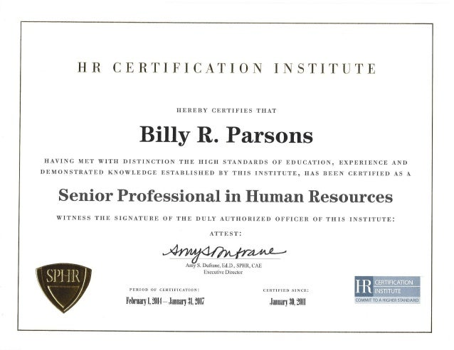 sphr certificate parsons slideshare billy upcoming
