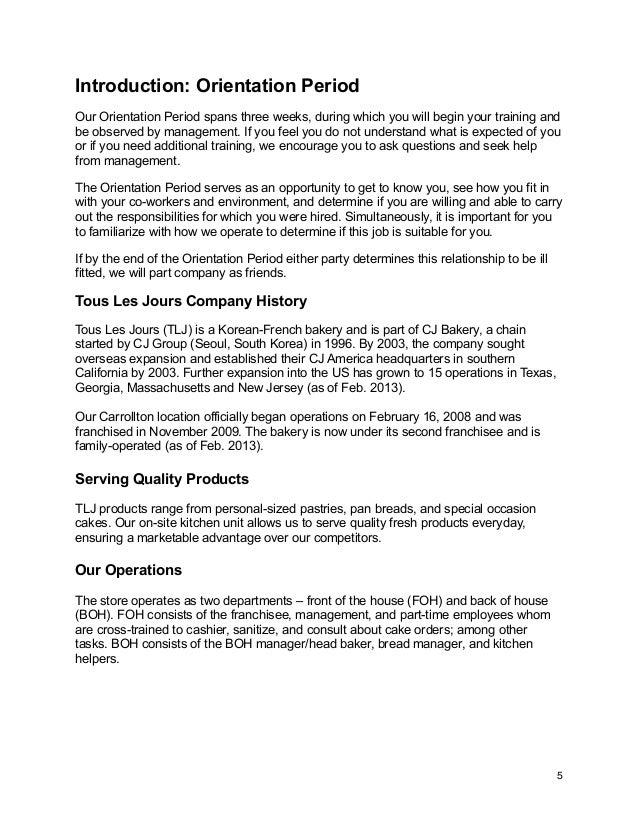 Tous Les Jours Employee Handbook (Updated) Job Les For Information Management on bob job, tony job, charlie job,