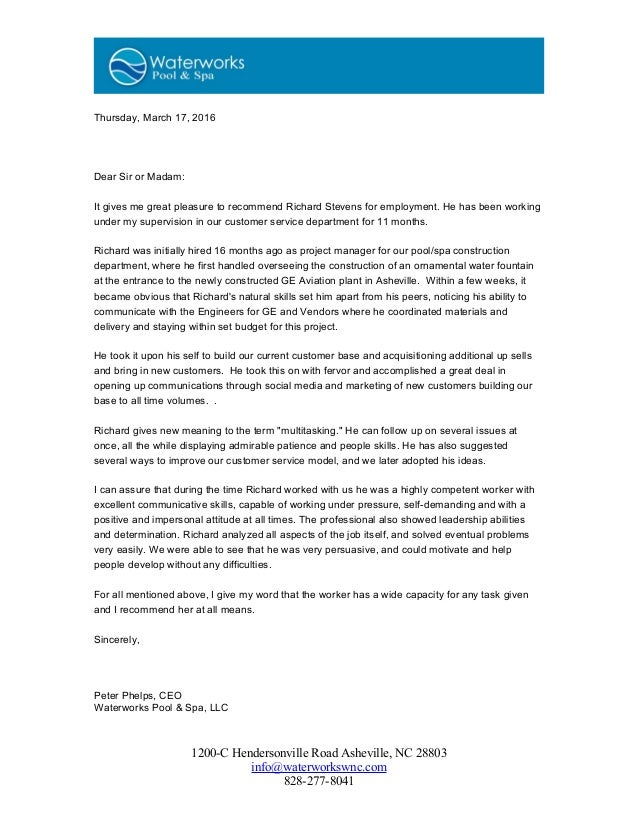 Letter of Recommendation Waterworks