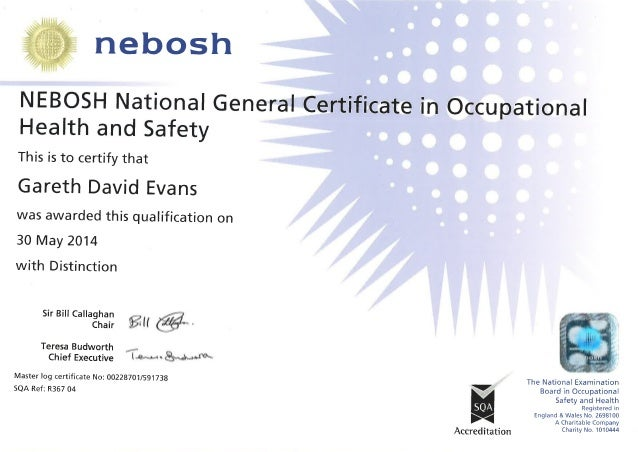 health and safety certificate template - nebosh national general certificate in ohs