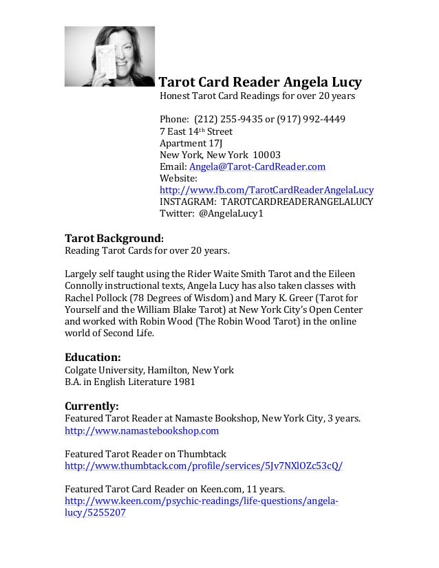 Resume Tarot Card Reader Angela Lucy