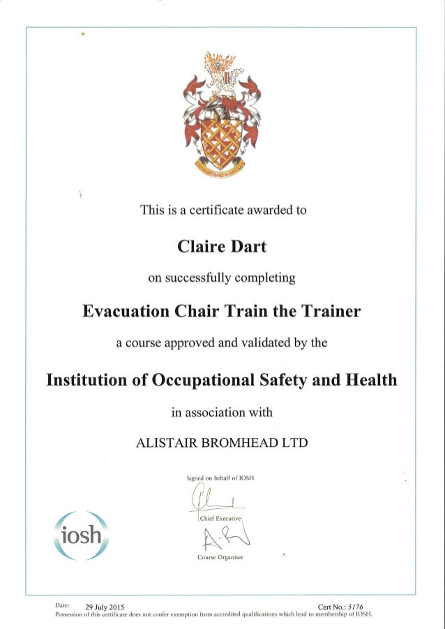 Evacuation Chair Train The Trainer Certificate