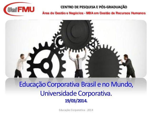CENTRO DE PESQUISA E PÓS-GRADUAÇÃO Área de Gestão e Negócios - MBA em Gestão de Recursos Humanos EducaçãoCorporativa Brasi...