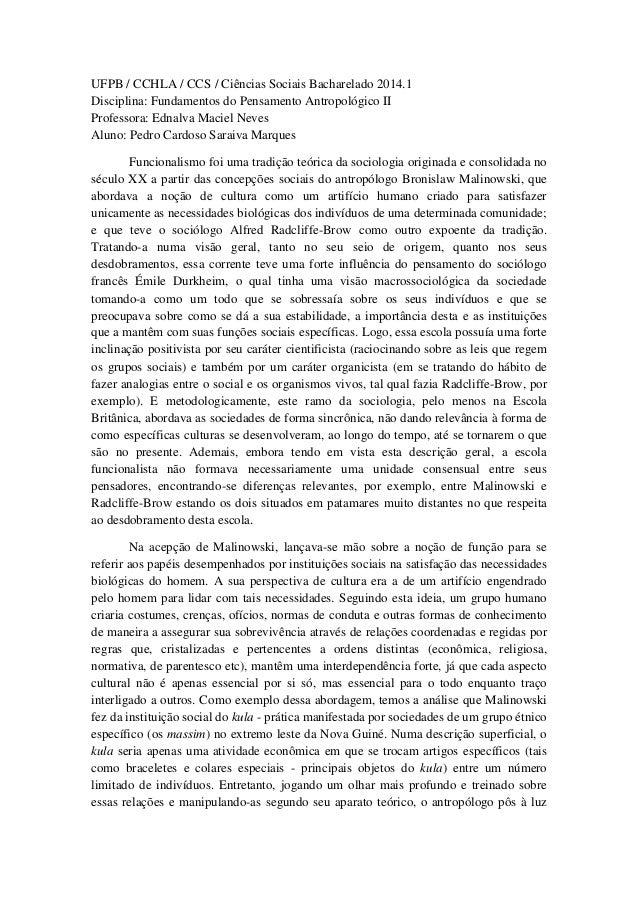 UFPB / CCHLA / CCS / Ciências Sociais Bacharelado 2014.1 Disciplina: Fundamentos do Pensamento Antropológico II Professora...