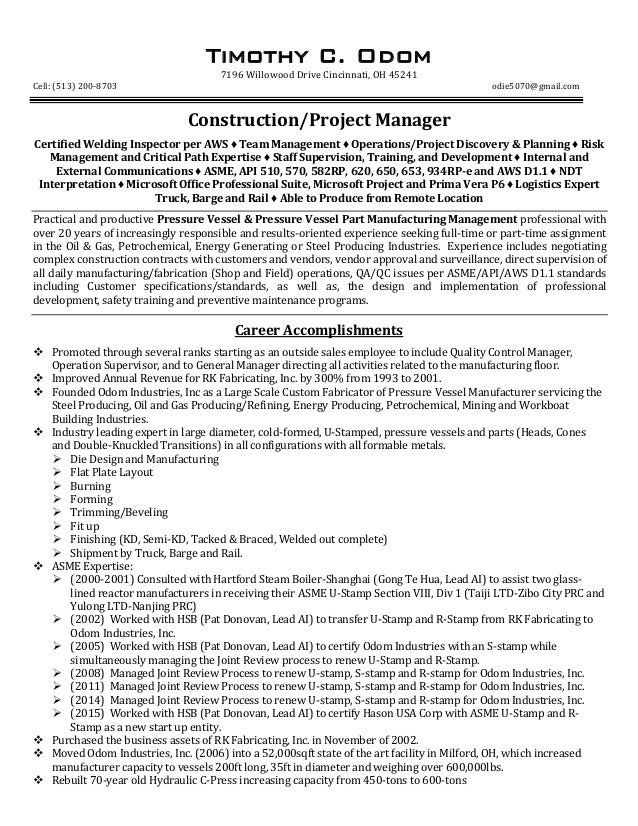 TCO Construction Project Manager Resume REV 01 24 16. Timothy C. Odom 7196  Willowood Drive Cincinnati, OH 45241 Cell: (513) ...