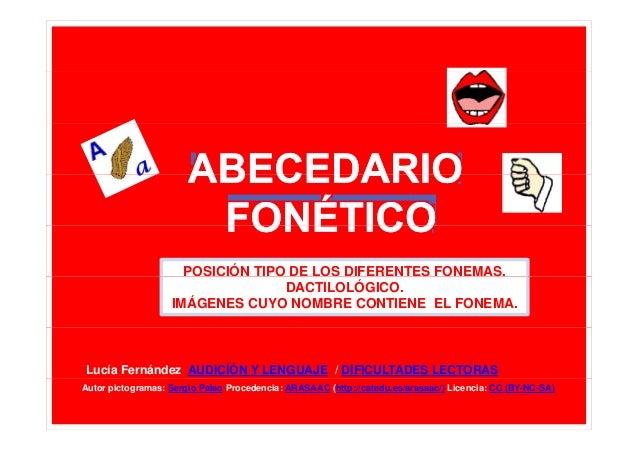 POSICIÓN TIPO DE LOS DIFERENTES FONEMAS. DACTILOLÓGICO. IMÁGENES CUYO NOMBRE CONTIENE EL FONEMA.  Lucía Fernández AUDICÍÓN...
