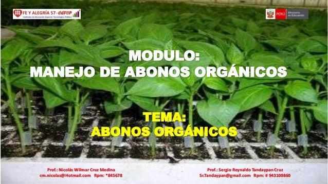 MODULO: MANEJO DE ABONOS ORGÁNICOS TEMA: ABONOS ORGÁNICOS Prof.: Nicolás Wilmar Cruz Medina cm.nicolas@Hotmail.com Rpm: *8...