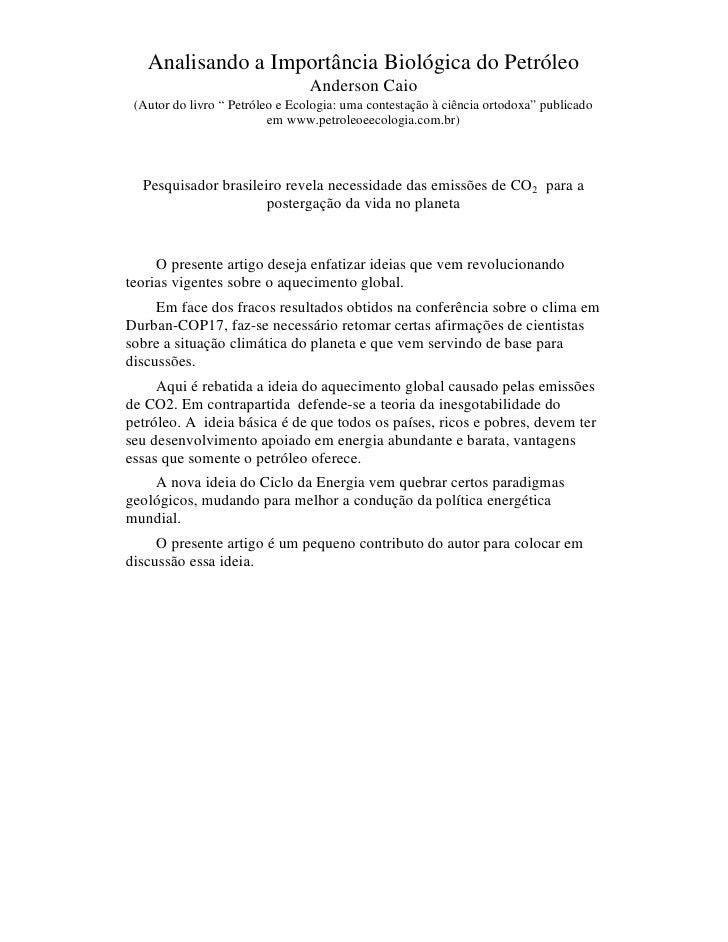 """Analisando a Importância Biológica do Petróleo                                 Anderson Caio (Autor do livro """" Petróleo e ..."""