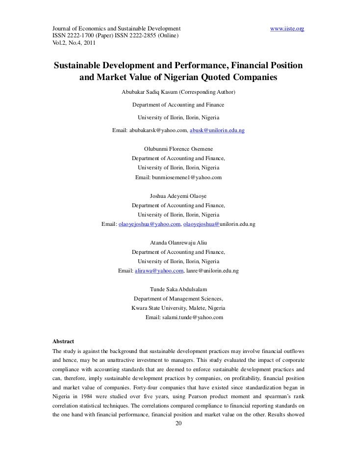 Journal of Economics and Sustainable Development                                             www.iiste.orgISSN 2222-1700 (...