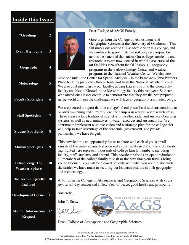 Inside this Issue: Dear College of A&GS Family, Greetings from the College of Atmospheric and Geographic Sciences at the U...