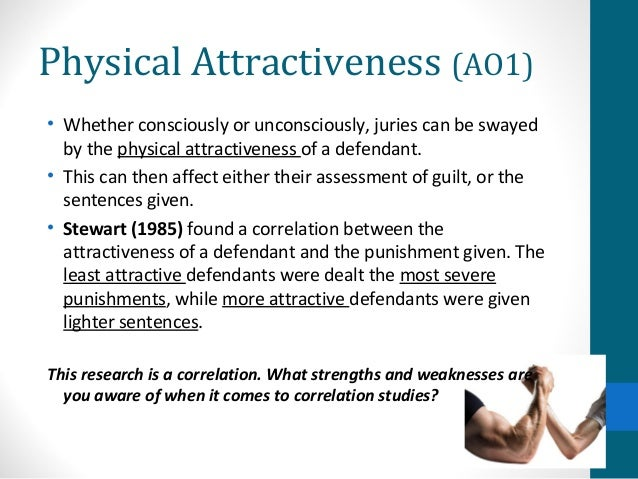 physical attractiveness of defendant Varied the physical attractiveness of a criminal defendant (attractive, unattractive, or no information) and the nature of the crime (attractiveness-related or attractiveness-unrelated) in a.