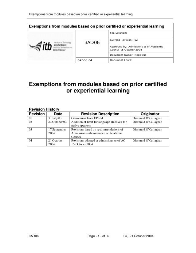 Exemptions from modules based on prior certified or experiential learningExemptions from modules based on prior certified ...