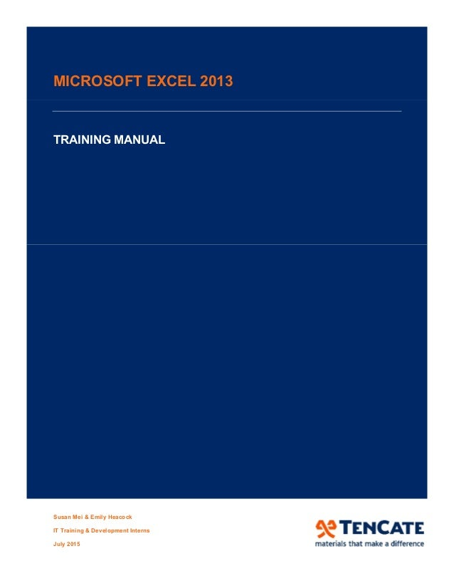excel 2013 training manual pdf