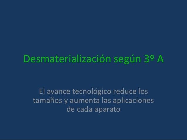 Desmaterialización según 3º A El avance tecnológico reduce los tamaños y aumenta las aplicaciones de cada aparato