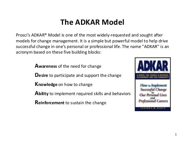 The ADKAR Model Prosci's ADKAR® Model is one of the most widely-requested and sought after models for change management. I...