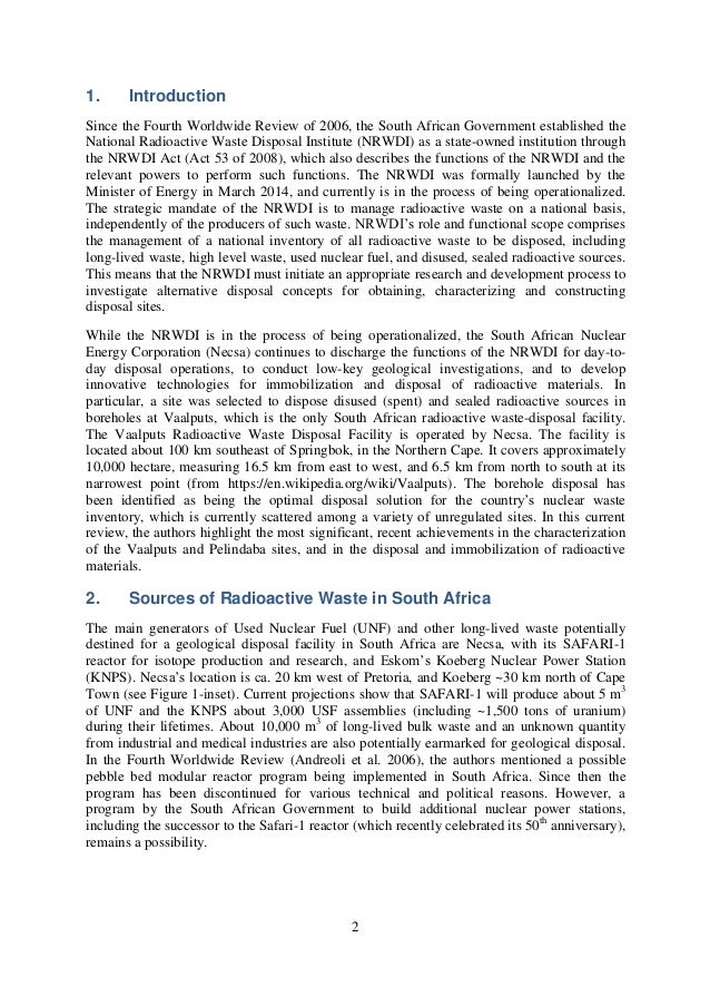 RADIOACTIVE WASTE DISPOSAL IN SOUTH AFRICA IN 2015 STATUS ...