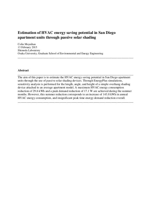 Estimation of HVAC energy saving potential in San Diego apartment uni…