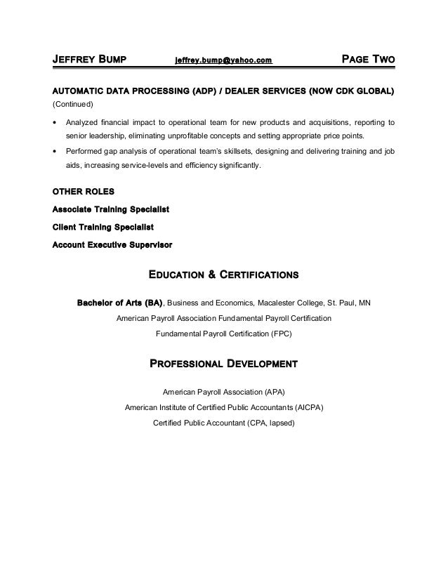 Jeffrey Bump Resume