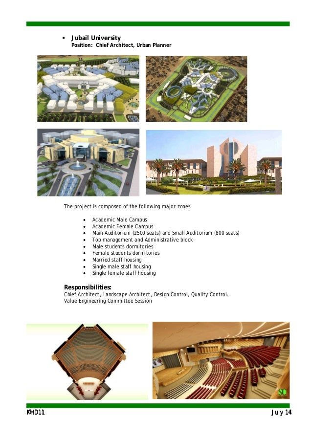 KKHHDD1111 JJuullyy 1144  Jubail University Position: Chief Architect, Urban Planner The project is composed of the follo...