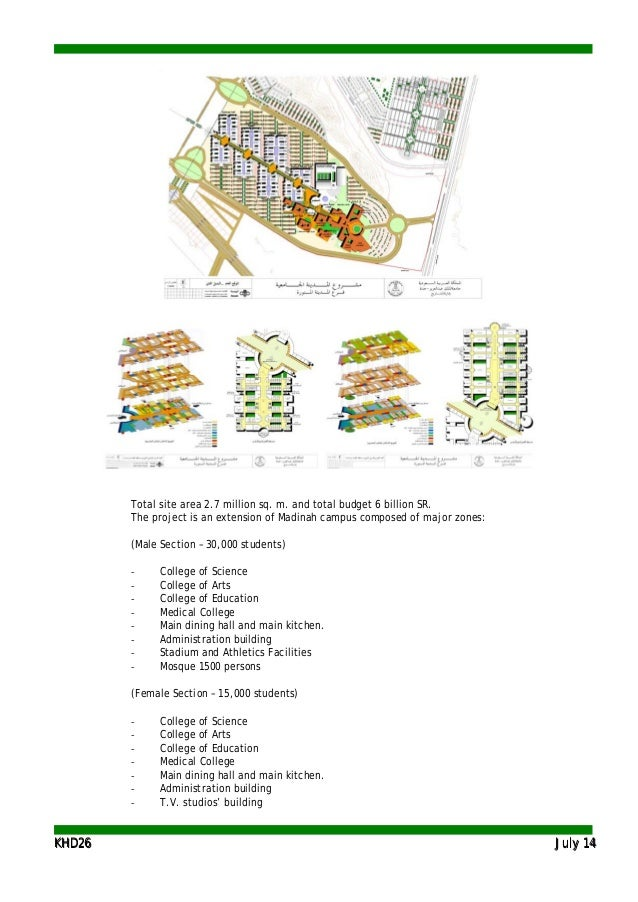 KKHHDD2266 JJuullyy 1144 Total site area 2.7 million sq. m. and total budget 6 billion SR. The project is an extension of ...