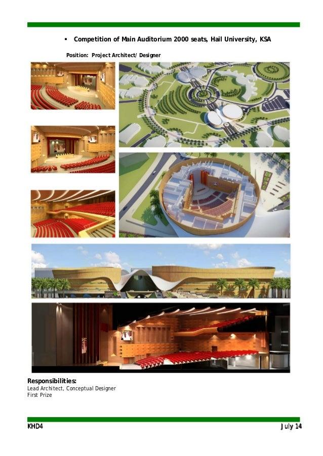 KKHHDD44 JJuullyy 1144  Competition of Main Auditorium 2000 seats, Hail University, KSA Position: Project Architect/ Desi...