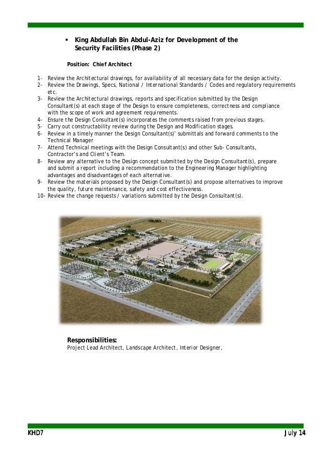 KKHHDD77 JJuullyy 1144  King Abdullah Bin Abdul-Aziz for Development of the Security Facilities (Phase 2) Position: Chief...