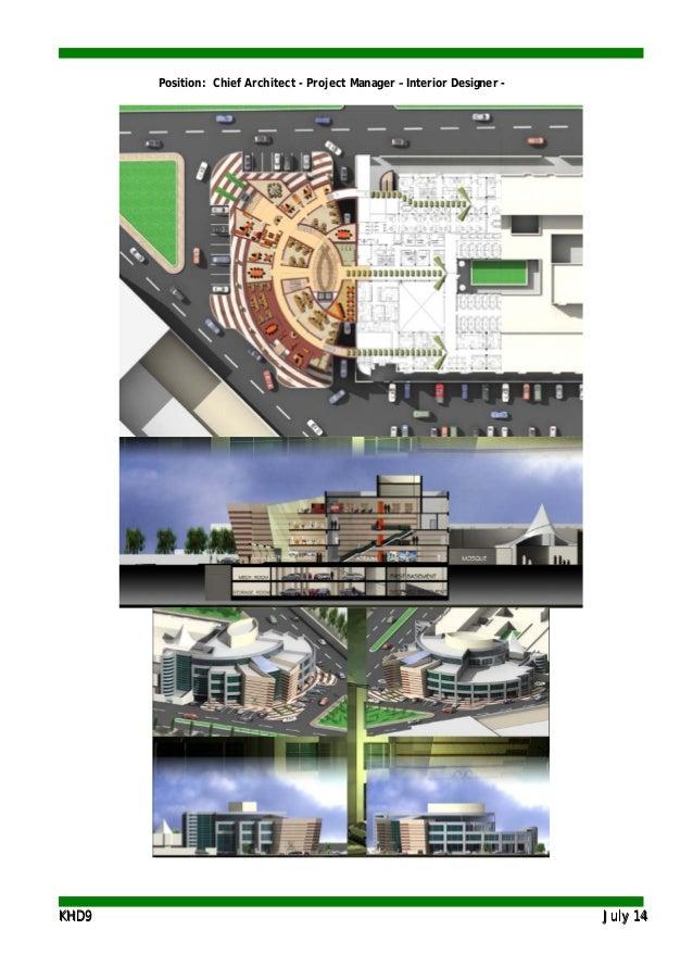 KKHHDD99 JJuullyy 1144 Position: Chief Architect - Project Manager – Interior Designer -