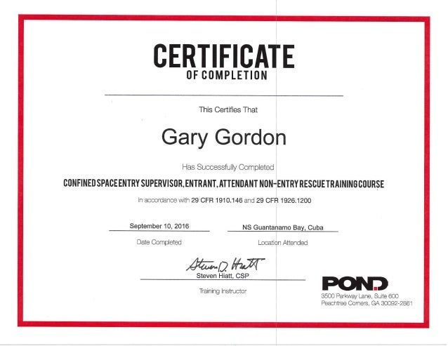 Gordon, Gary Pond Confined Spaces Training Cert 10Sep16