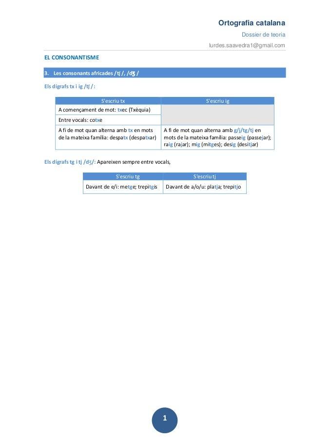 Ortografia catalana Dossier de teoria lurdes.saavedra1@gmail.com 1 EL CONSONANTISME 3. Les consonants africades /tʃ /, /dʒ...