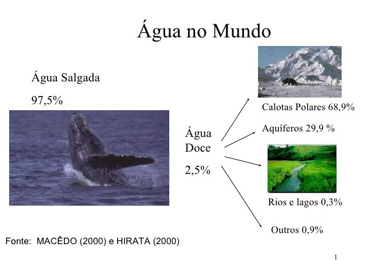 Água no Mundo  Fonte:  MACÊDO (2000) e HIRATA (2000) Água Salgada 97,5% Calotas Polares 68,9% Rios e lagos 0,3% Água Doce...