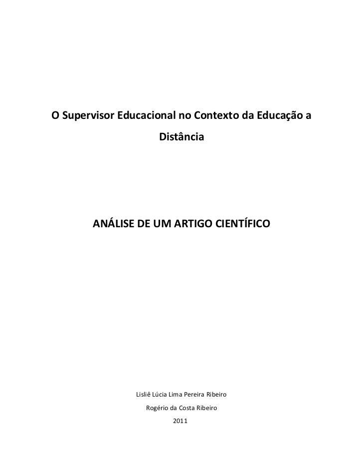 O Supervisor Educacional no Contexto da Educação a                        Distância       ANÁLISE DE UM ARTIGO CIENTÍFICO ...