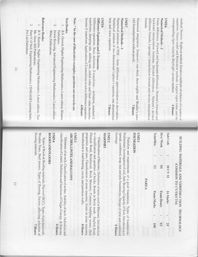 3rd and 4th semester Civil Engineering (2010 Scheme