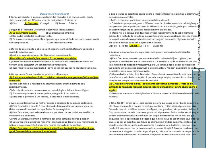 Página6 – 3º aNo – 2º BiMeSTRe FILOSOFIA- exercícios                                Descartes e o Mundo Dual              ...