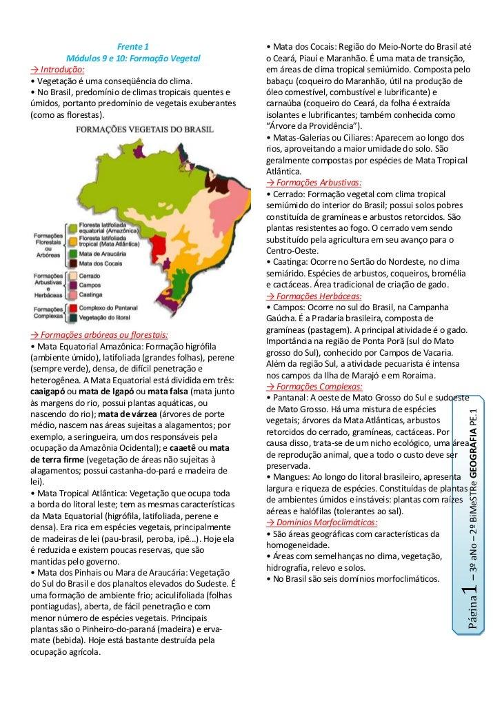Frente 1<br />Módulos 9 e 10: Formação Vegetal<br />-> Introdução:<br />• Vegetação é uma conseqüência do clima.<br />• No...