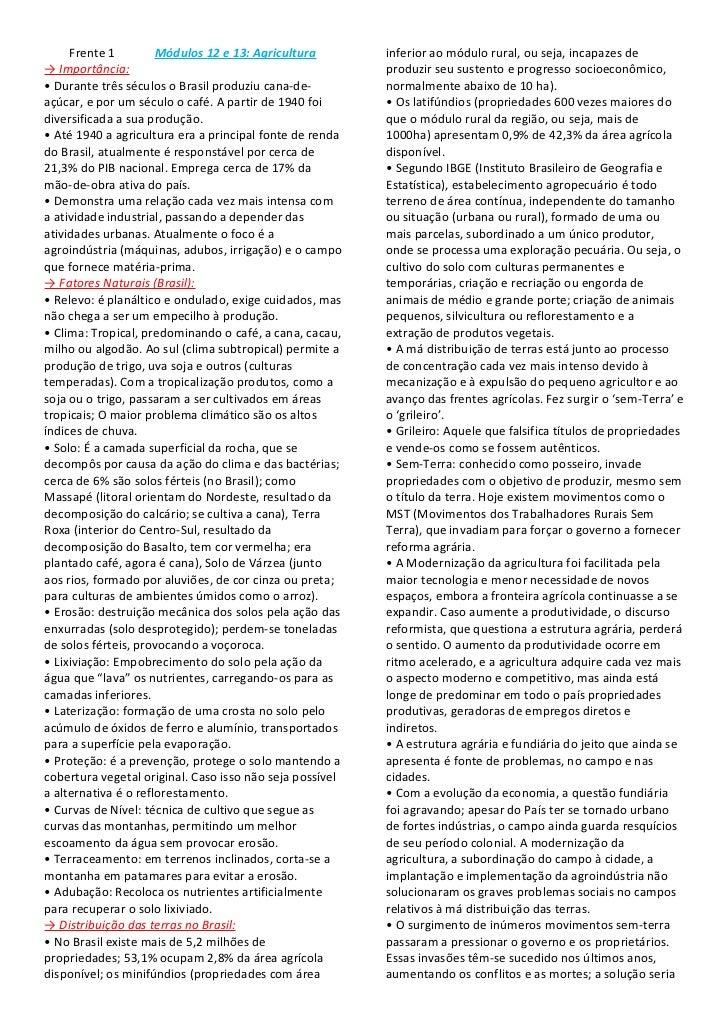 Frente 1         Módulos 12 e 13: Agricultura        inferior ao módulo rural, ou seja, incapazes de→ Importância:        ...