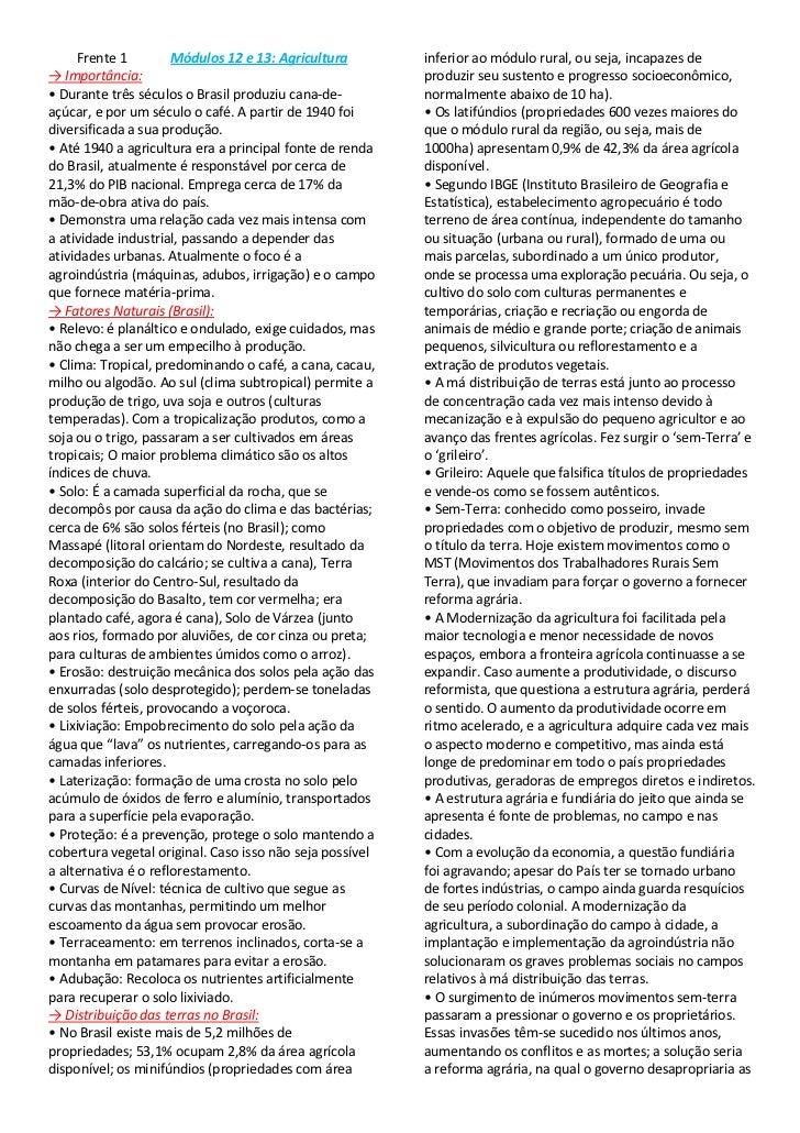 Frente 1             Módulos 12 e 13: Agricultura<br />-> Importância:<br />• Durante três séculos o Brasil produziu cana-...