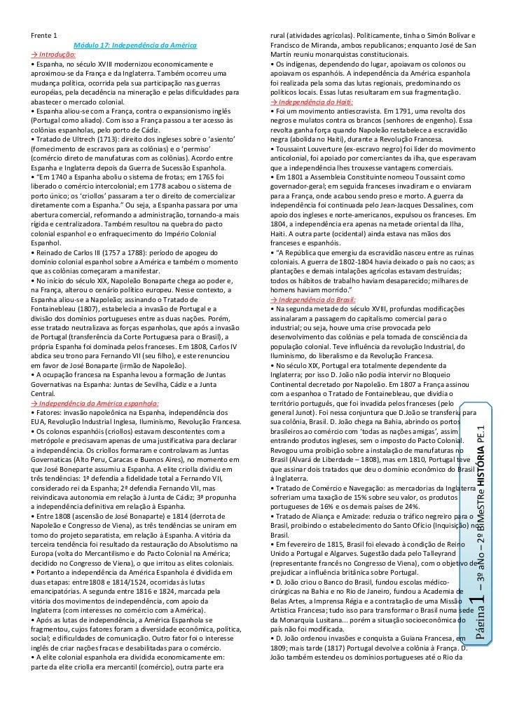 Frente 1<br />Módulo 17: Independência da América<br />-> Introdução:<br />• Espanha, no século XVIII modernizou economica...