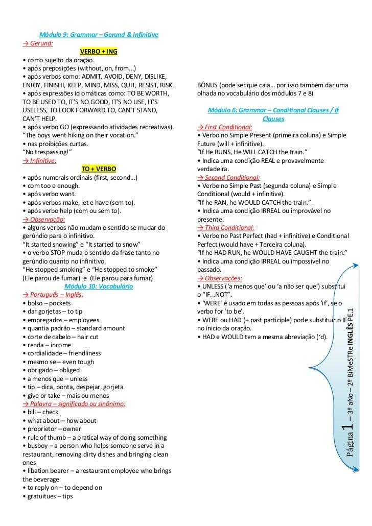 Módulo 9: Grammar – Gerund & Infinitive<br />-> Gerund:   <br />VERBO + ING<br />• como sujeito da oração.<br />• após pre...