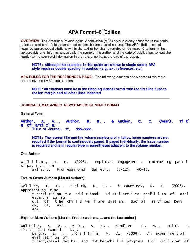 th                                APA Format–6 EditionOVERVIEW–The American Psychological Association (APA) style is widel...