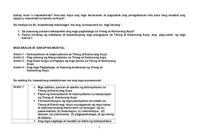 Araling Panlipunan Grade 8 - Third Quarter Module Slide 2
