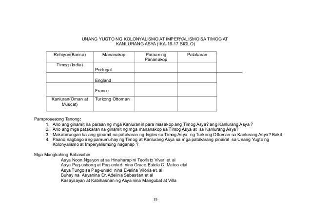 UNANG YUGTO NG KOLONYALISMO AT IMPERYALISMO SA TIMOG AT KANLURANG ASYA (IKA-16-17 SIGLO) Rehiyon(Bansa) Mananakop Paraan n...