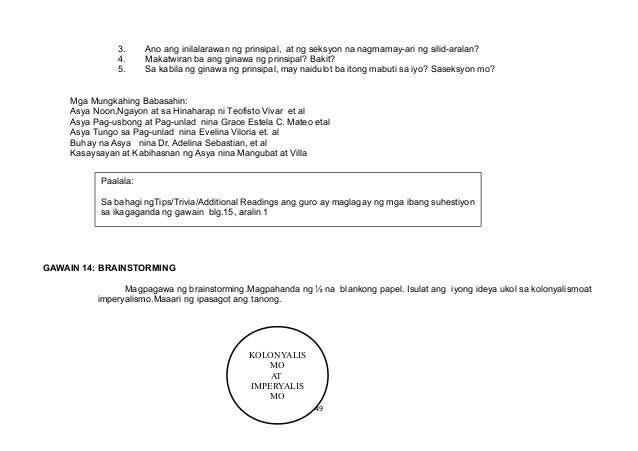 KOLONYALIS MO AT IMPERYALIS MO 3. Ano ang inilalarawan ng prinsipal, at ng seksyon na nagmamay-ari ng silid-aralan? 4. Mak...